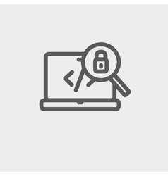 Laptop and magnifying glass looking for security vector image