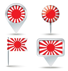 Map pins with japanese war flag vector
