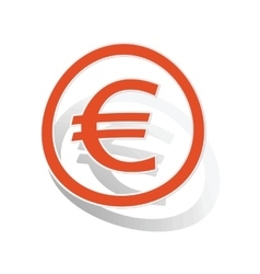 Euro sign sticker orange vector