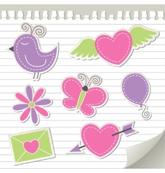 Cute pink stickers set vector
