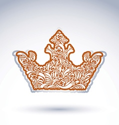Flower-patterned imperial crown isolated on white vector