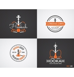 Set of hookah relax labels badges and design vector