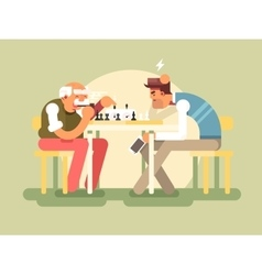 People play chess vector