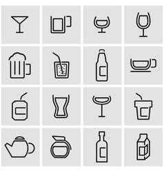 Line beverages icon set vector