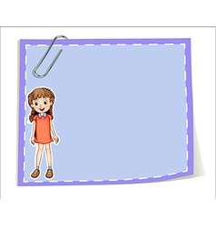 An empty paper template with a young girl smiling vector image vector image