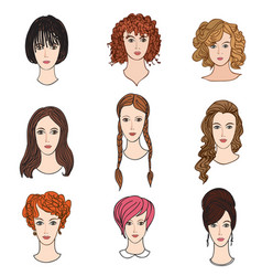 Avatar icon set beautiful young girls with vector