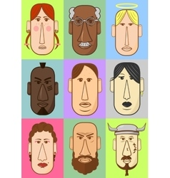 Avatar woman man heads characters vector
