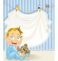 baby boy blue openwork announcement card with baby vector image vector image