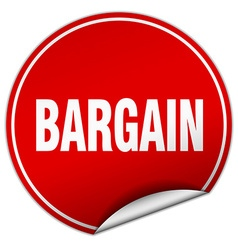 Bargain round red sticker isolated on white vector