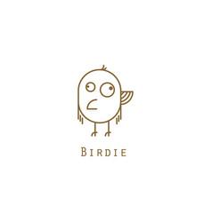 bird logo gold line style vector image
