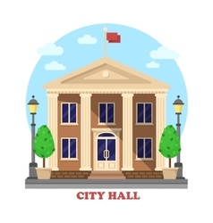 City hall architecture facade of building exterior vector