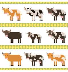 cows bulls and calf flat vector image