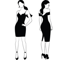 elegant woman in little black dress vector image vector image