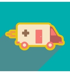 Flat icon with long shadow ambulance car vector