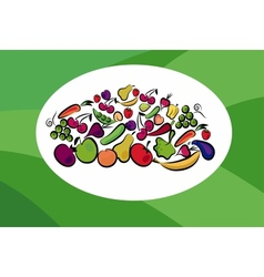 fruits and vegetables on card vector image