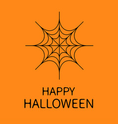 happy halloween card spider round web black vector image