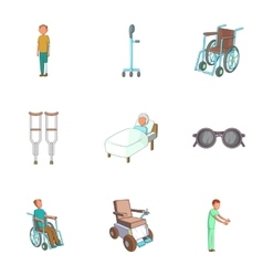 Help assistance icons set cartoon style vector image