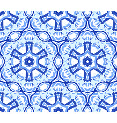 Kaleidoscopic light blue flower ornament vector