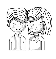 Line beauty couple together with hearts eyes vector