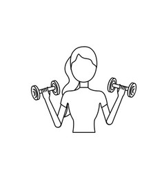 Line woman with dumbbell to do exercise vector