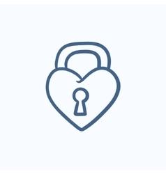 Lock shaped heart sketch icon vector image vector image