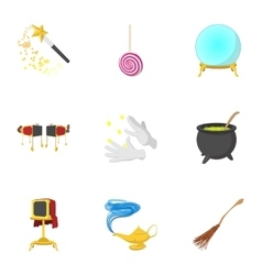 Magic icons set cartoon style vector