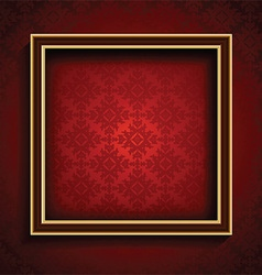 Old picture frame on red damask background 0508 vector