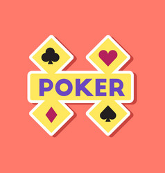 paper sticker on stylish background poker logo vector image vector image