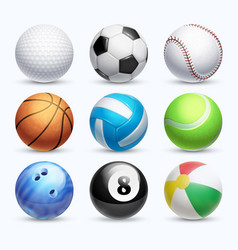 realistic sports balls set vector image vector image