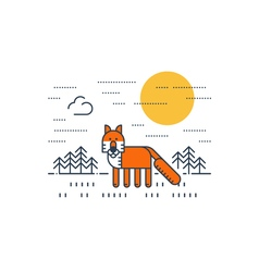 Red fox outdoor simple cartoon vector image