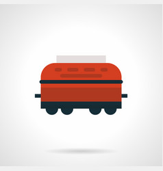 red refrigerated rail car flat icon vector image