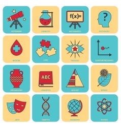 Science areas icons flat line vector