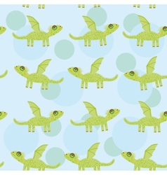 Seamless pattern with funny cute dragon on a blue vector
