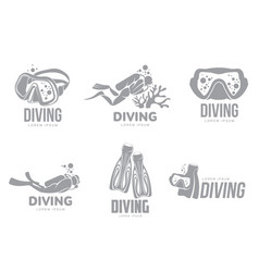 set of graphic diving logo templates with divers vector image