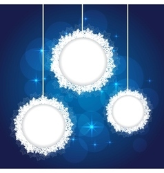 snowflakes frame on blue backgournd vector image vector image