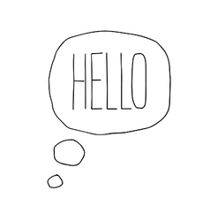 Speech bubbles with hello word hand drawn vector