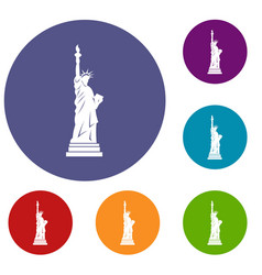 Statue of liberty icons set vector