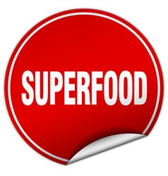 Superfood round red sticker isolated on white vector