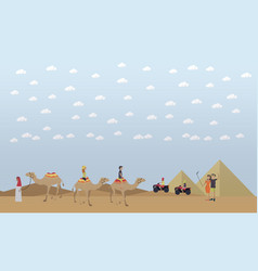 Trip to egypt pyramids riding camels concept vector