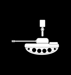 White icon on black background tank and old vector