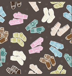 winter mittens and socks seamless pattern hand vector image