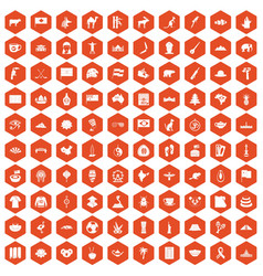 100 landmarks icons hexagon orange vector image