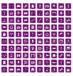 100 mirror icons set grunge purple vector