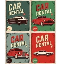 Set of car rental old style flyers vector