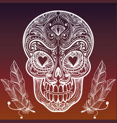 Sketched mexican skull and feathers vector