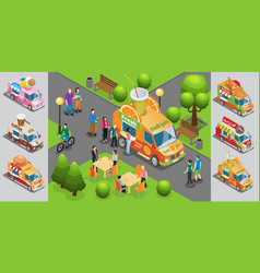 isometric street food template vector image