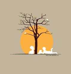 Background with children read a book under tree i vector