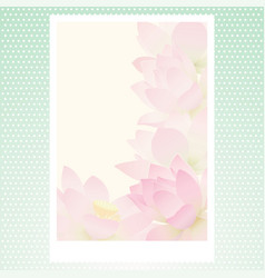 Greeting card with delicate lotus water flowers vector