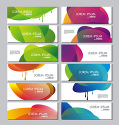Set of banners with abstract color circle shapes vector