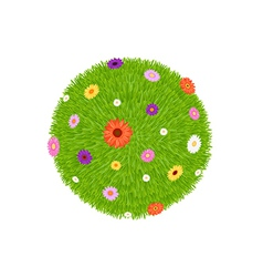 Grass ball with colourful flowers vector